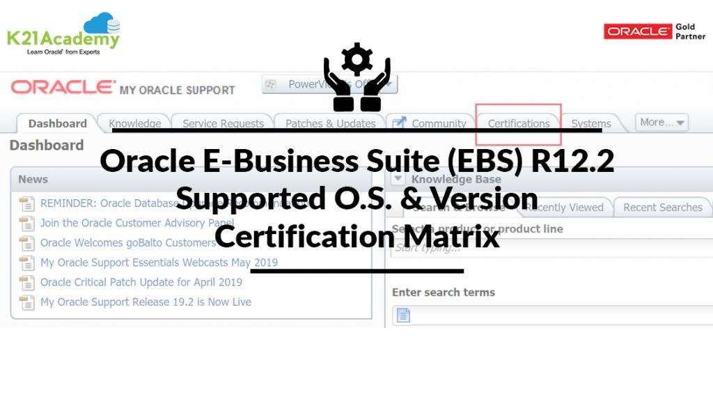 Oracle E-Buisness Suite (EBS)R12 Certification Matrix