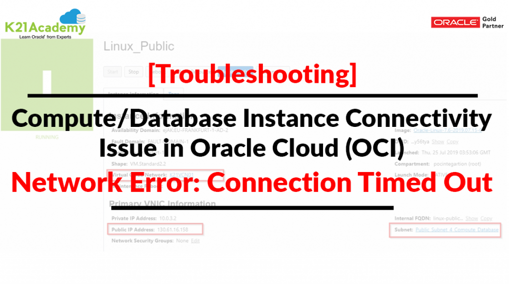 Compute/Database Instance Connectivity Issue in Oracle Cloud