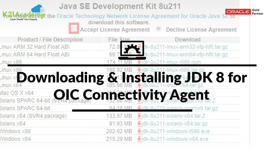 Downloading & Installing JDK 8 for OIC Connectivity Agent
